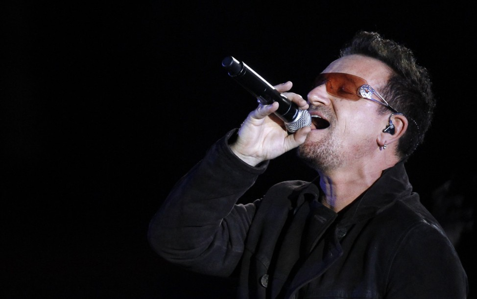 Bono, lead singer of Irish band U2, performs 'Sunday Bloody Sunday' at the Hollywood Bowl in Hollywood