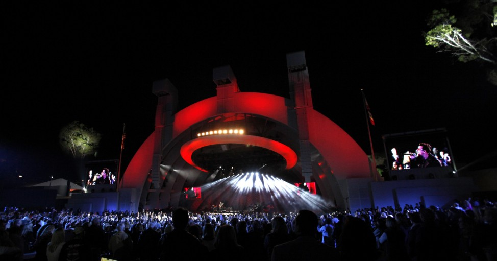 Bono and The Edge of Irish band U2 perform 'Sunday Bloody Sunday' at the Hollywood Bowl in Hollywood