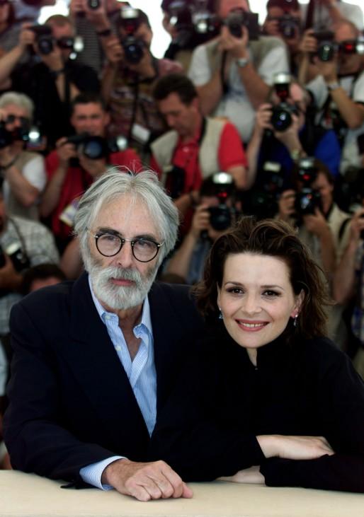 AUSTRIAN DIRECTOR MICHAEL HANEKE AND ACTRESS JULIETTE BINOCHE AT CANNES FILM FESTIVAL