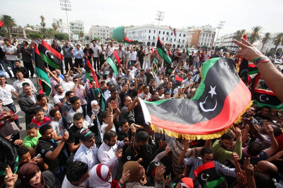 Celebrations on death of Gaddafi in Tripoli