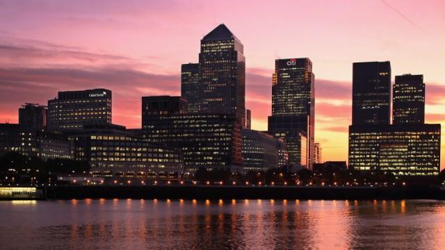 Sunrise Over Canary Wharf - The European Headquarters Of Numerous Major Banks
