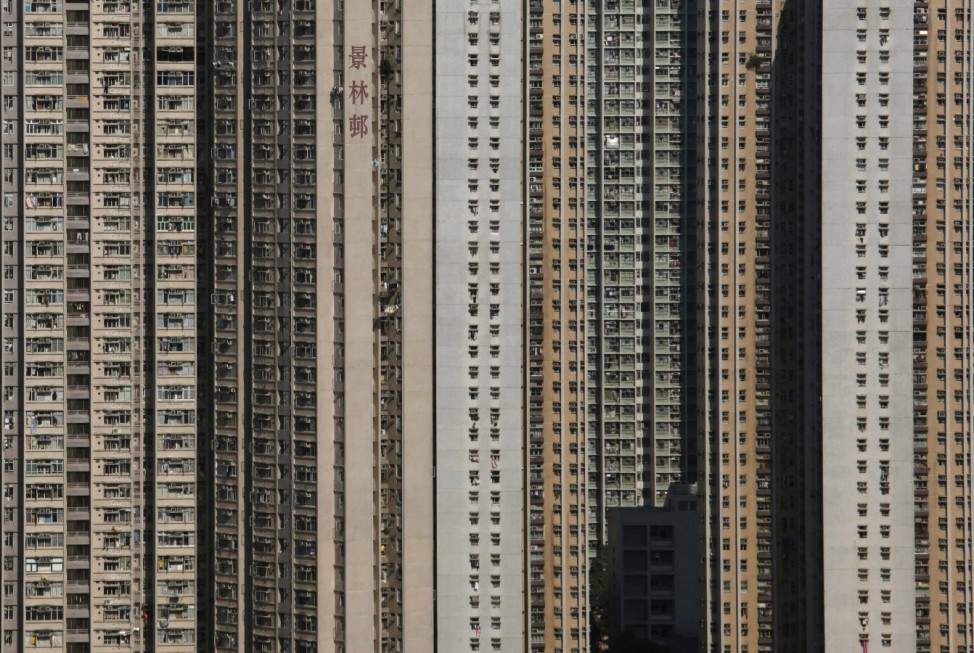 Public residential buildings are seen in Po Lam 'satellite town' in Hong Kong