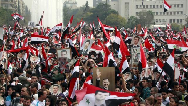 Pro-Assad protest in Syria
