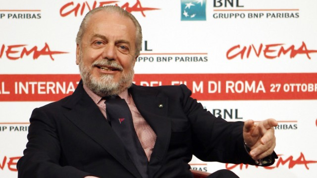 Producer Aurelio De Laurentiis poses during a photocall of his movie 'Toto 3D' at the Rome Film Festival