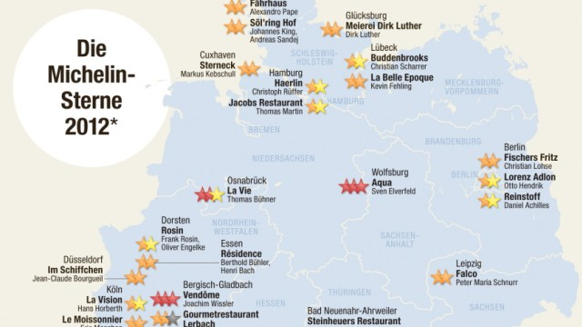 Graphik Michelin Sterne Deutschland 2012