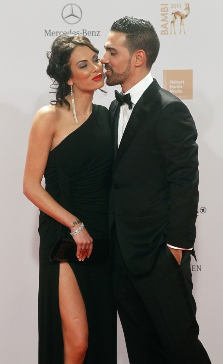 German musician Bushido and Lagerblom arrive on the red carpet for the 63rd Bambi media awards ceremony in Wiesbaden