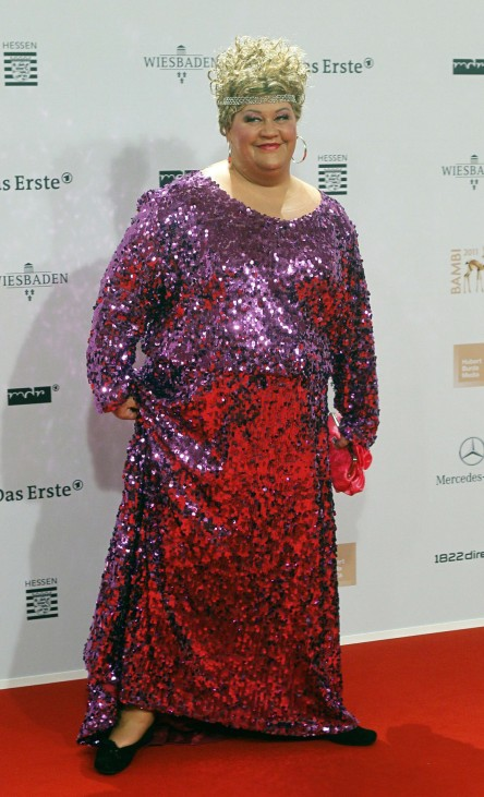German comedian aus Marzhan arrives on the red carpet for the 63rd Bambi media awards ceremony in Wiesbaden