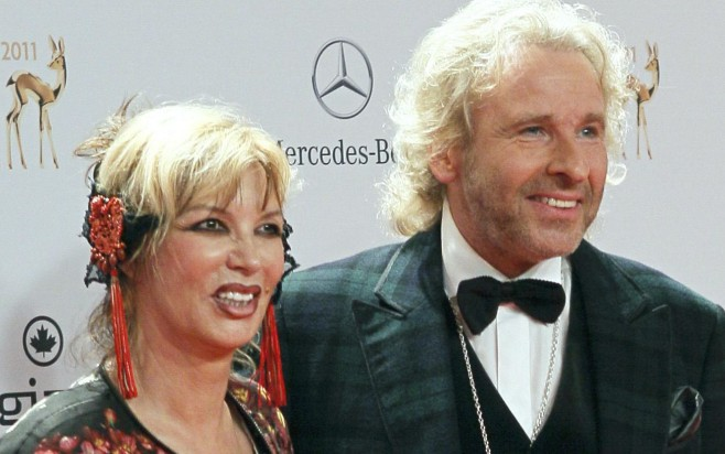 German entertainer Gottschalk and his wife Thea arrive on the red carpet for the 63rd Bambi media awards ceremony in Wiesbaden