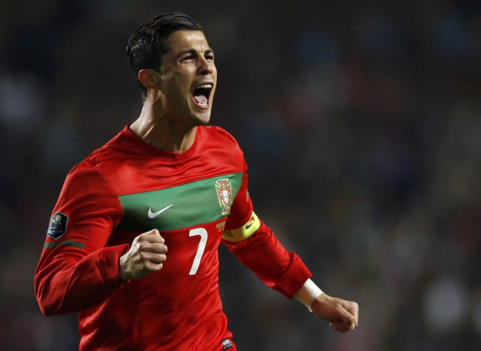 Cristiano Ronaldo of Portugal celebrates after scoring against Bosnia during their Euro 2012 play-off second leg qualifying soccer match in Lisbon