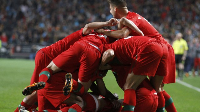 Portugal's soccer players celebrate after Cristiano Ronaldo scored against Bosnia during their Euro 2012 play-off second leg qualifying soccer match in Lisbon