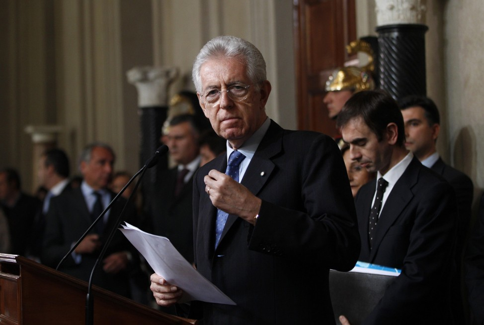 Prime Minister designate Monti talks to reporters at the end of a meeting with Italian President Giorgio Napolitano at the Quirinale Palace in Rome