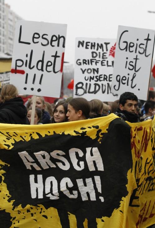German students attend demonstration in Berlin