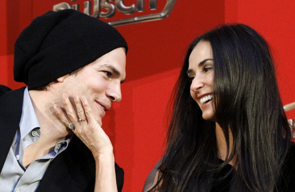 File photo of Ashton Kutcher and Demi Moore in Pasching
