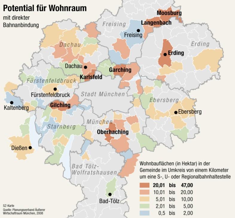 Potential für Wohnraum in der Region München