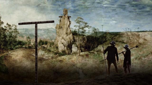 """""""Die Mühle & das Kreuz"""" im Kino: Unwahrscheinlich hoch ist der Fels, den es in Flandern niemals gegeben hätte. Er ist seinerseits ein Zitat, stammt aus den Alpen und aus dem Skizzenbuch, das Bruegel von seiner Italienreise mitbrachte."""