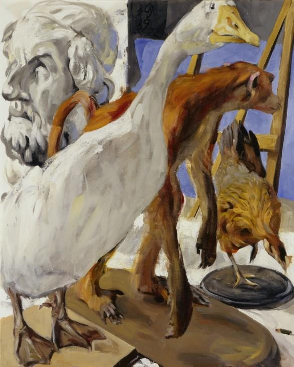 Johannes Grützke: Stillleben und Büste des Homer