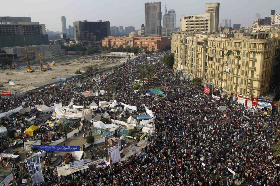 A general view of Egyptian protesters during a march in Tahrir Square in Cairo