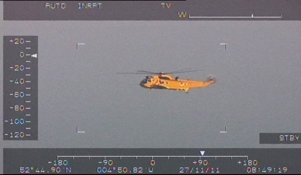 A Royal Air Force search and rescue helicopter is seen flying over the Irish Sea