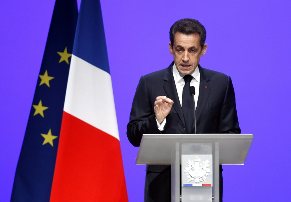 French President Nicolas Sarkozy delivers his speech on the euro