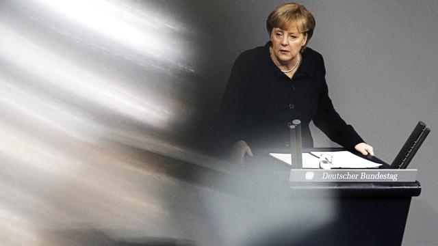 German Chancellor Merkel addresses German lower house of parliament in Berlin