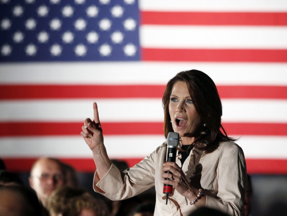 U.S. Rep. Bachmann addresses her hometown crowd the day before the official announcement of her entering the 2012 presidential race, in Waterloo, Iowa