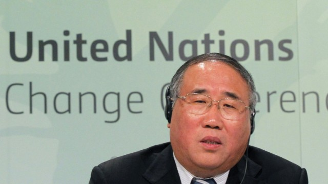 Vice-director of the National Development and Reform Commission and head of the Chinese delegation Xie speaks during a news conference at the COP17 to the UNFCCC in Durban