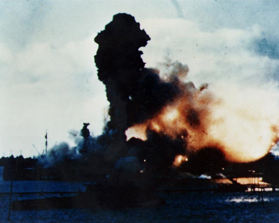 The forward magazines of USS Arizona explode after it was hit by a Japanese bomb in Pearl Harbor, Hawaii