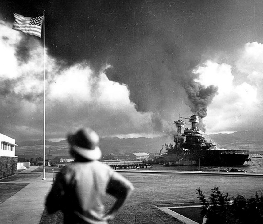 USS California is seen ablaze after an attack by Japanese carrier based strike aircraft on Pearl Harbor