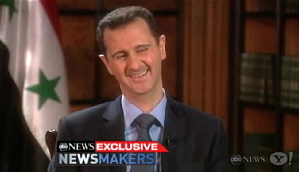 Syriens Staatschef Assad während des Interviews mit dem US-Sender ABC