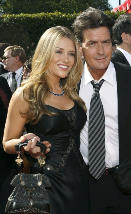 File photo shows Charlie Sheen arriving with his wife Brooke Mueller at the Primetime Emmy Awards in Los Angeles