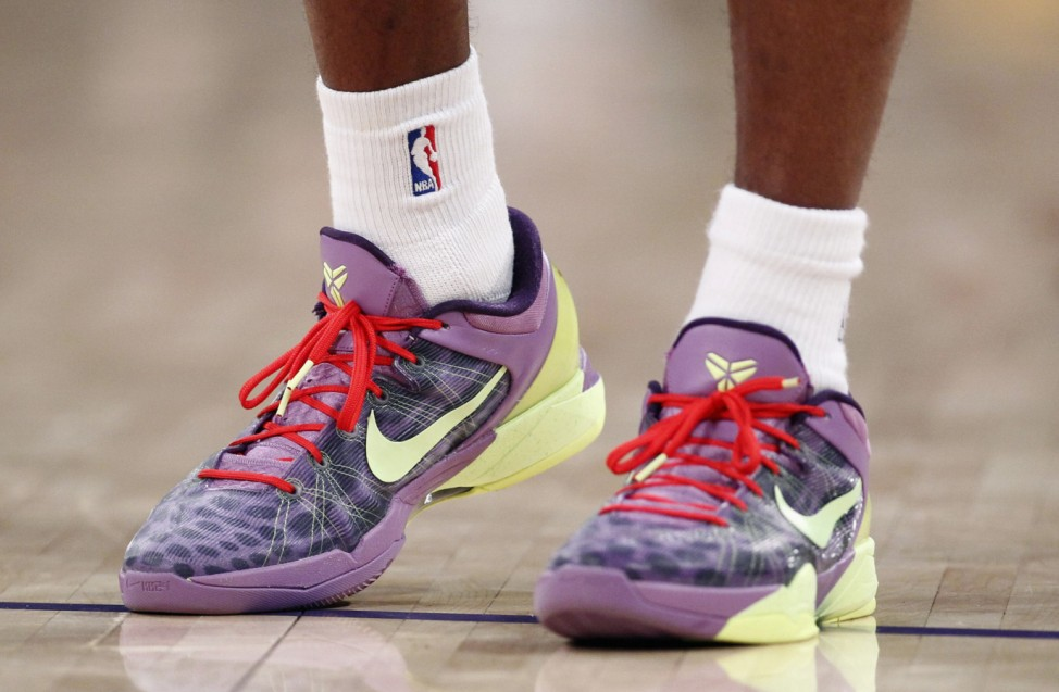 A new color of the Nike Zoom Kobe VII shoes are seen worn by Los Angeles Lakers' Kobe Bryant as he plays against the Chicago Bulls during the second half of an NBA basketball game in Los Angeles