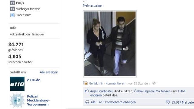 Facebook-Seite der Polizei Hannover