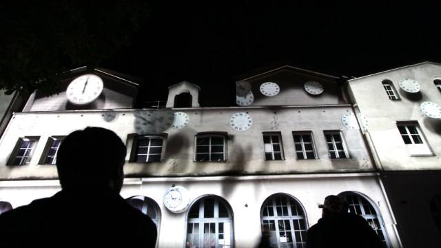 Lichtinstallation auf der Münchner Praterinsel, 2011