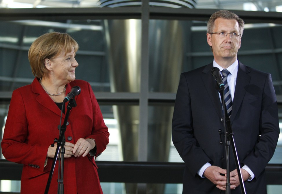 German Chancellor and CDU head Merkel presents her candidate for presidential office, Wulff, in Berlin