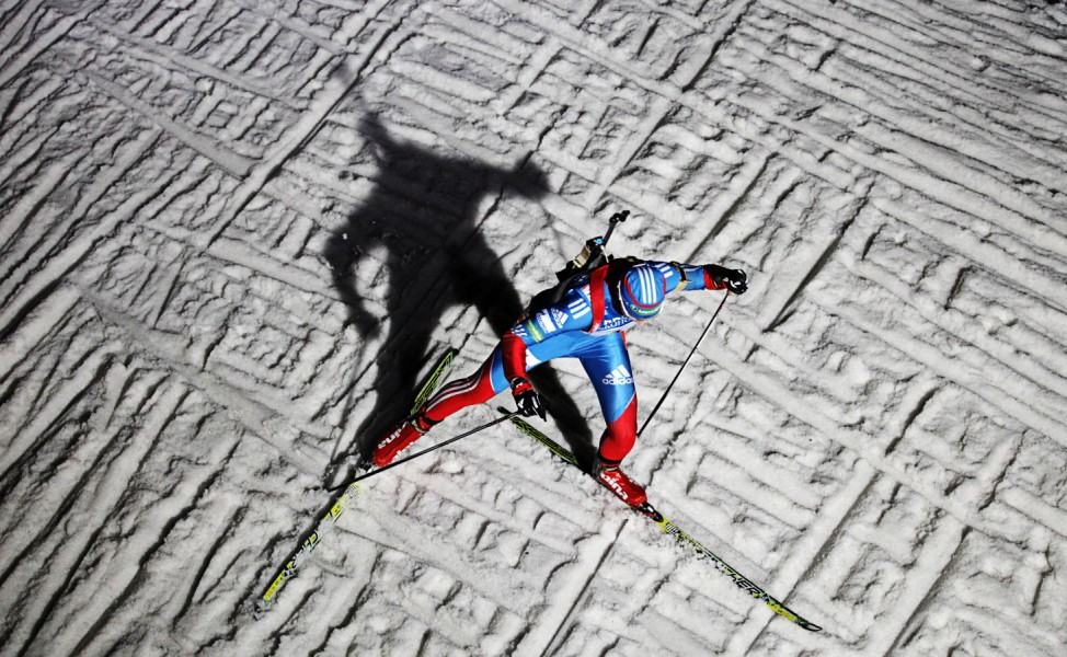 Russia's Vilukhina competes in 4x6 km women's relay competition at Biathlon World Cup in Oberhof