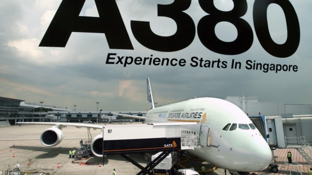 File photo of Airbus A380 at Singapore's Changi Airport