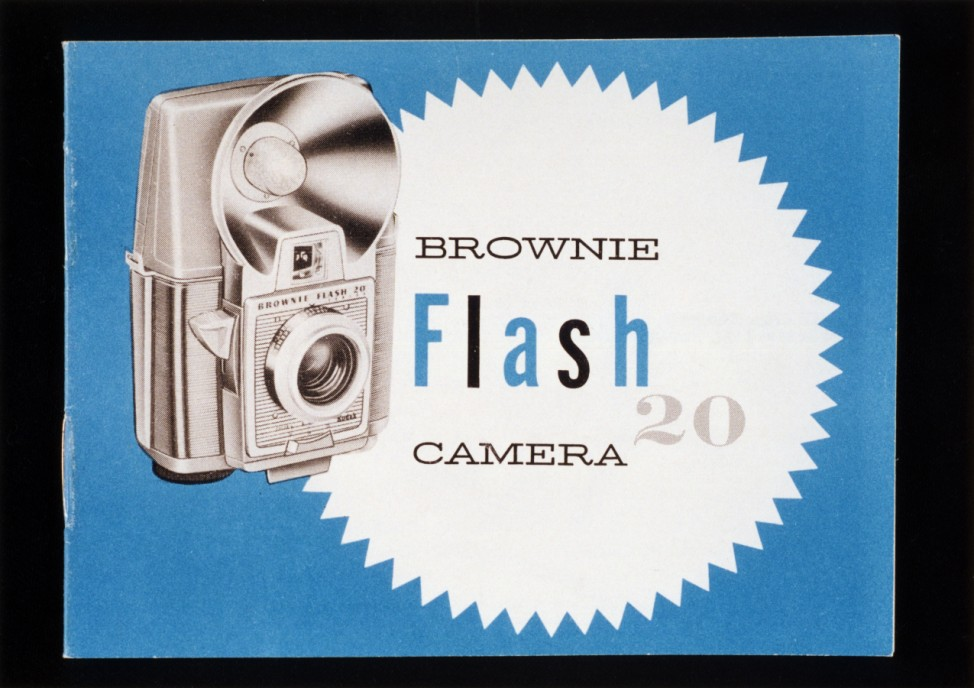 'Brownie Flash 20 camera', illustration on box of Kodak camera, c 1959.
