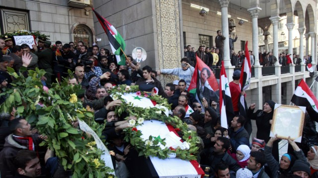 Funerals of bombing victims in Damascus
