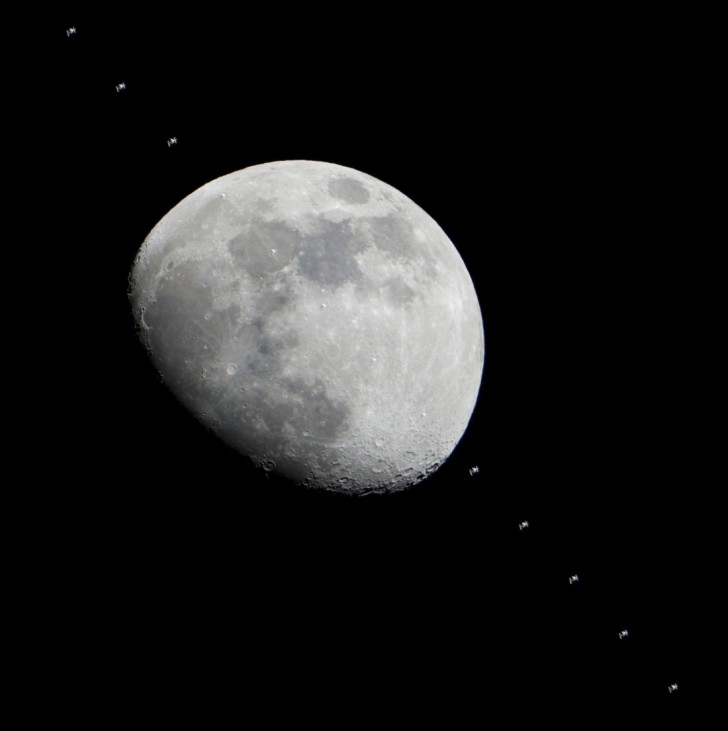 Multiple images show the International Space Station flying past the moon, as seen from Houston, January 4, 2012 in this composite image released by NASA.