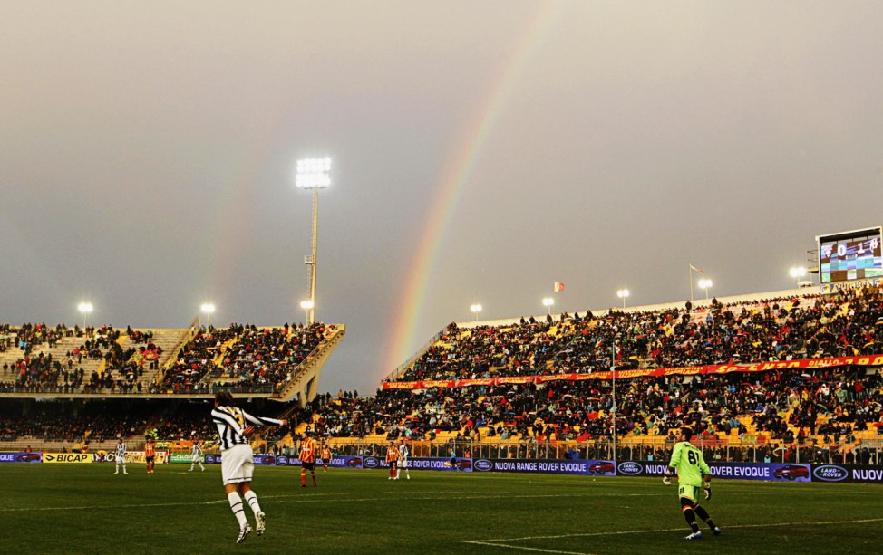 A rainbow is seen as Juventus and Lecce play during their Italian Serie A soccer match at the Via del Mare stadium