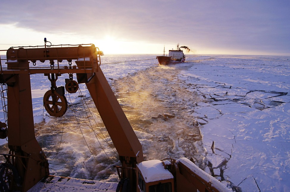 Russian-flagged tanker Renda follows a path made in the ice by the crew of the U.S. Coast Guard Cutter Healy south of Nome