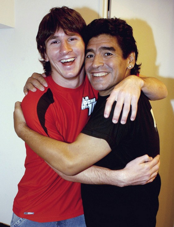 File photo of former Argentine soccer star Maradona with Messi in Buenos Aires