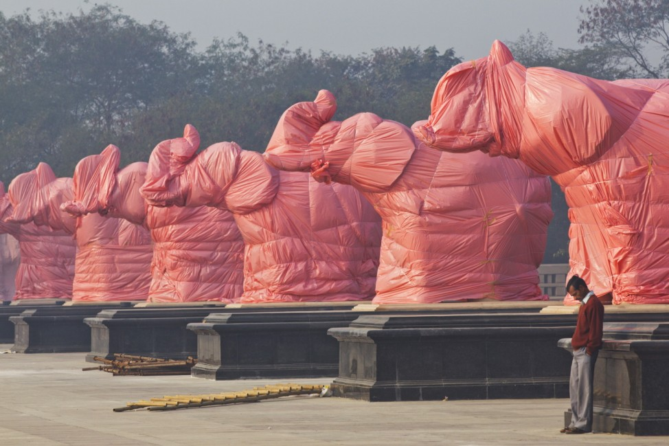 BESTPIX  Elephant Statues Of BSP Party Symbol Covered Ahead Of State Elections In India