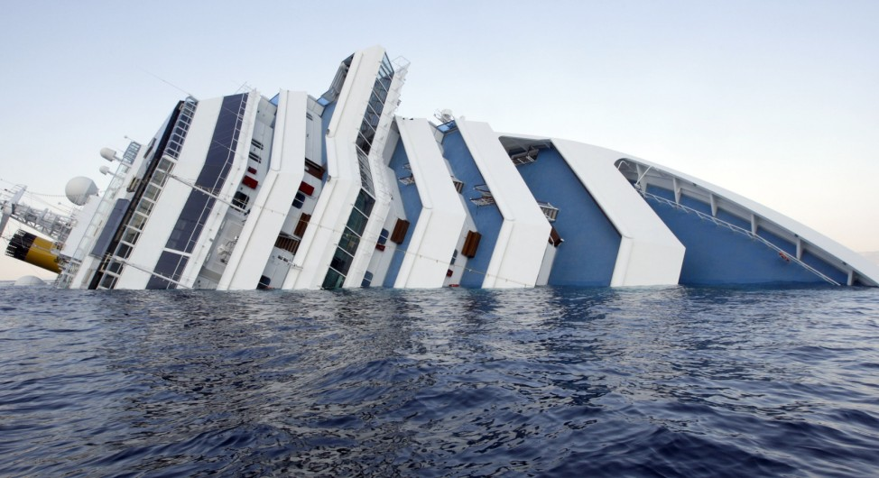 Costa Concordia cruise ship that ran aground is seen off the west coast of Italy at Giglio island