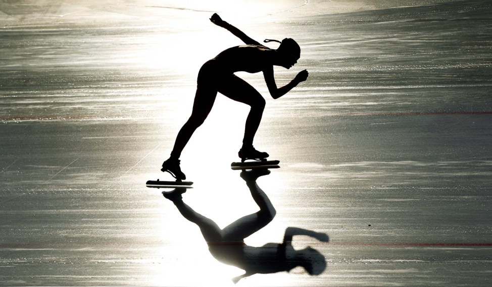 China's Shi skates in the women's 1500m speed skating event at the first winter Youth Olympic Games in Innsbruck