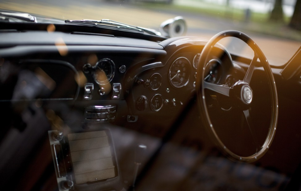 The Aston Martin DB5 made famous in the James Bond movies is displayed after restoration in Luzern