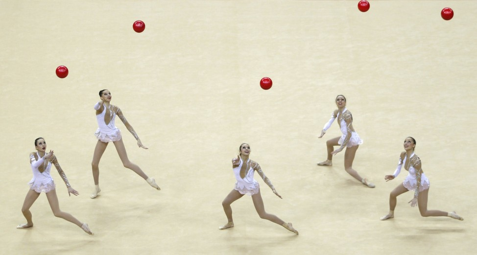 France's team compete in the International Group Rythmic Gymnastics event in east London