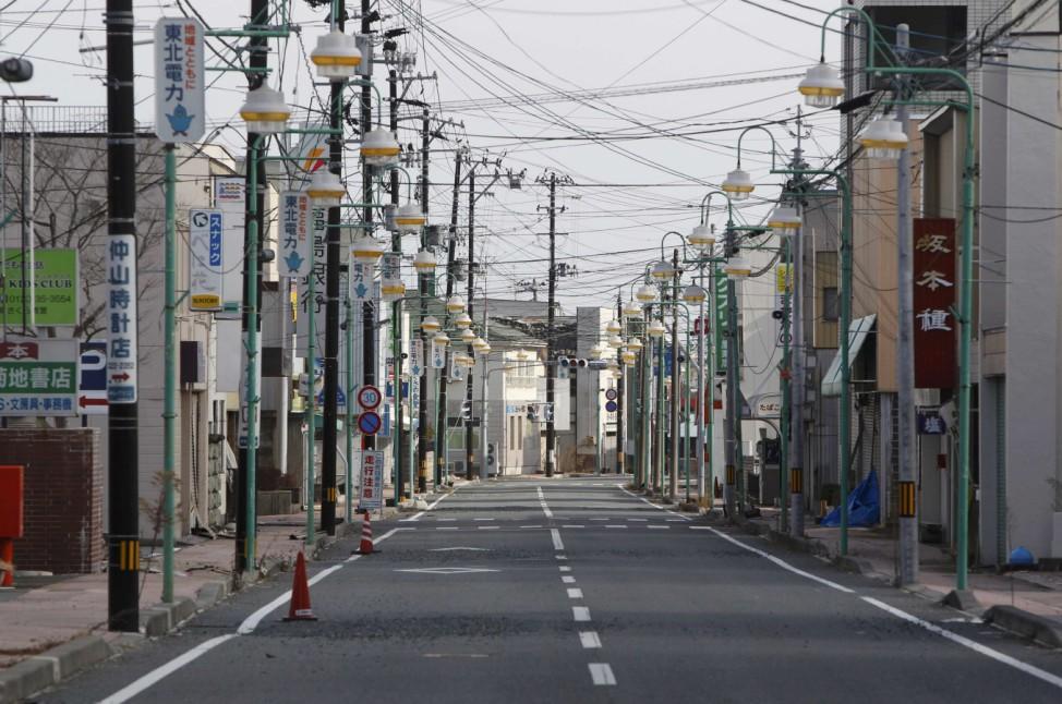 Empty shopping street is seen in Tomioka town