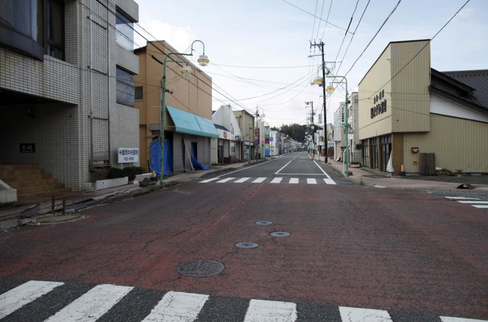 An empty shopping street is seen in Tomioka town inside the Fukushima exclusion zone
