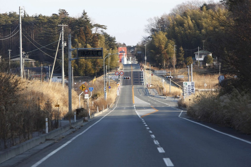 The empty Route 6 is seen in Okuma town inside the Fukushima exclusion zone